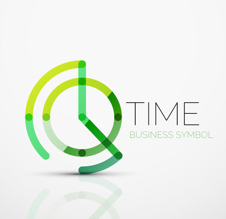 Vector abstrakt logo idé, tid begrepp eller klocka företagsikon. Kreativa logotyp mall gjord av överlappande månglinjesegment Illustration