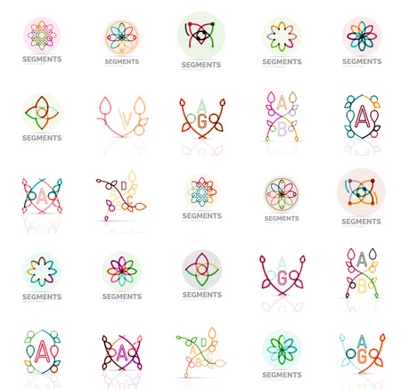 swirls vector: Linear abstract logos letters, swirls. Vector set Illustration