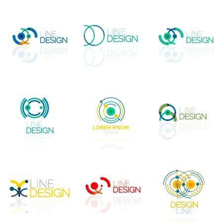 Linear Vektor abstrakte Logo Set, Kreise Schleifen und Wirbel. Signet Marke Vorlagen von Linien