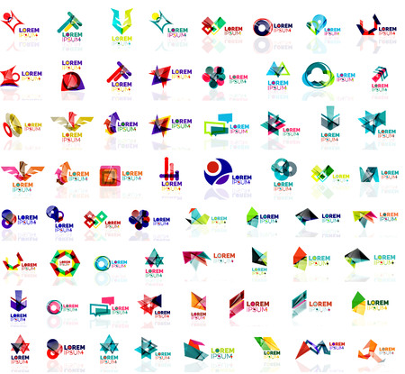 abstract logos: Mega set of geometrical abstract logos. Company universal concept branding identity emblems, symbols, elements
