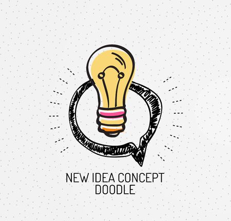handdrawn: Vector multicolored hand-drawn doodles, icon, stamp. Light bulb, idea concept