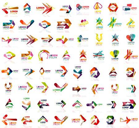Ensemble d'icônes de flèche de conception géométrique, logotype et modèles de marque. Illustration vectorielle