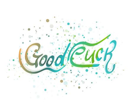 Good luck lettering word. Vector illustration