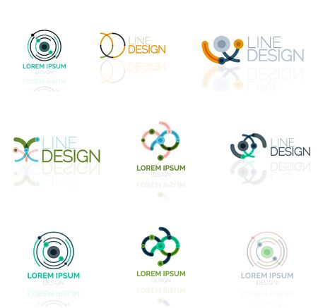 abstract swirls: Linear vector abstract logo set, circles loops and swirls. Logotype brand templates made of lines Illustration
