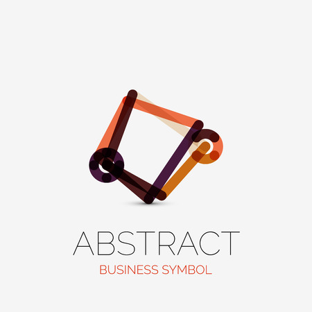 Minimalistic Linear Business Icons Logos Made Of Multicolored