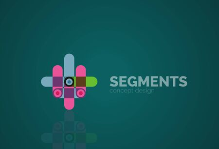 segments: linear business icon made of line segments, elements.