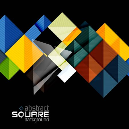 glossiness: Glossy color squares on black. Geometric abstract background for your message.