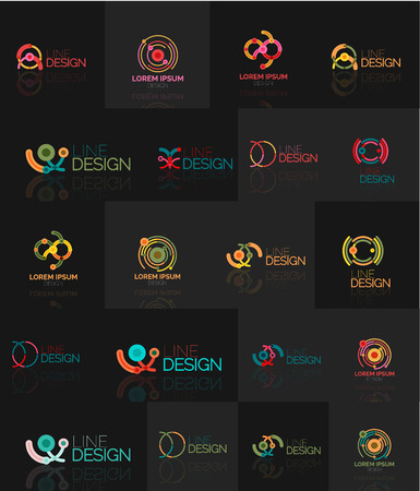 segments: Linear business icons made of line segments, elements.