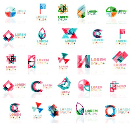 square tape: Collection of colorful abstract Company universal concept branding identity emblem, elements, buttons