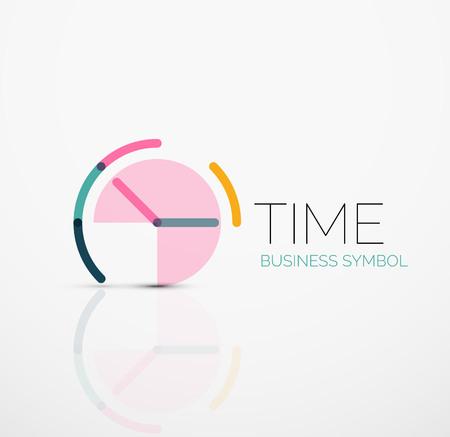 Vector streszczenie logo pomysł, pojęcie czasu lub business icon zegara. Twórczy logo design template wykonany z nakładających się na siebie odcinków wielokolorowe