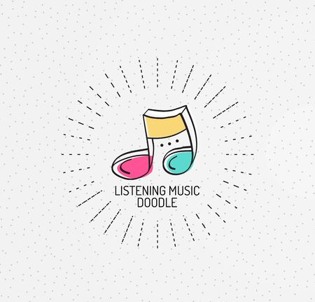 handdrawn: Vector multicolored hand-drawn doodles, icon, stamp. Music concept
