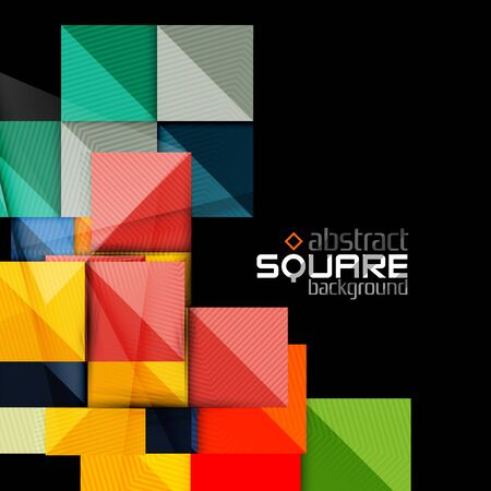 website backgrounds: Glossy color squares on black. Geometric abstract background for your message. Vector Illustration