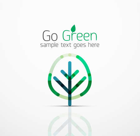 nature vector: Vector abstract logo idea, eco leaf, nature plant, green concept business icon. Creative logotype design template made of overlapping multicolored line segments Illustration