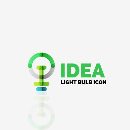 power button: Logo, vector light bulb abstract linear geometric business icon. Fresh modern idea concept