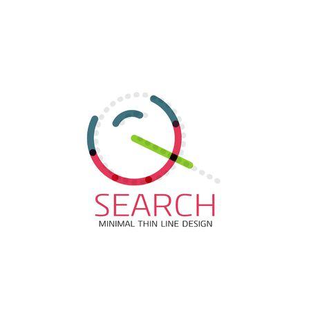 segments: Linear minimalist business icon made of multicolored segments Illustration