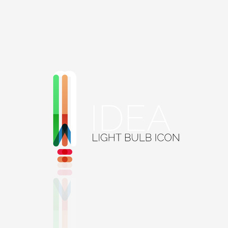 thin bulb: Vector light bulb abstract linear geometric business icon. Fresh modern idea concept