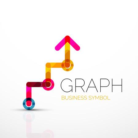Idée de logo abstrait Vector, icône de graphique linéaire ou graphique. Modèle de conception de logo créatif fait de segments de ligne multicolores qui se chevauchent