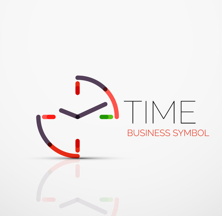 Vector abstract logo idea, time concept or clock business icon. Creative logotype design template made of overlapping multicolored line segments
