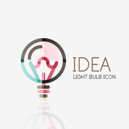 thin bulb: Logo, vector light bulb abstract linear geometric business icon. Fresh modern idea concept