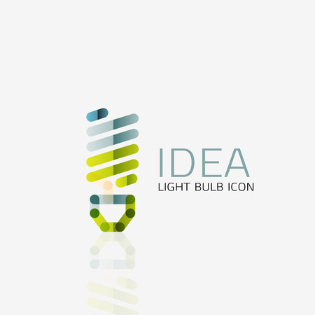 online business: Logo, vector light bulb abstract linear geometric business icon. Fresh modern idea concept