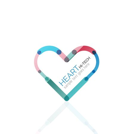 heart abstract: Logo love heart, abstract vector linear geometric business icon