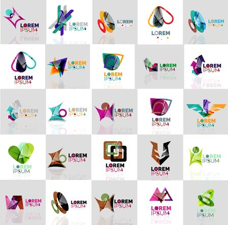 logo element: Collection of colorful abstract origami logos. Company universal concept branding identity emblem, elements, buttons