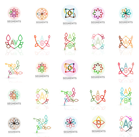 abstract logos: Linear abstract logos letters, swirls. Vector set Illustration