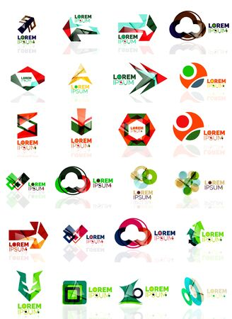 origami paper: Logo set, abstract geometric business icons, paper style with glossy elements. Vector universal origami business symbols