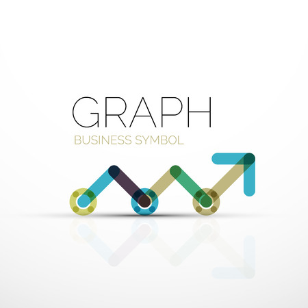 line graph: Vector abstract logo idea, linear chart or graph  business icon. Creative logotype design template made of overlapping multicolored line segments Illustration