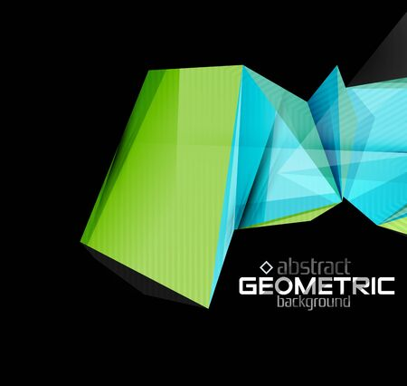 futuristic wallpaper: Textured paper geometric shapes on black. Vector abstract background