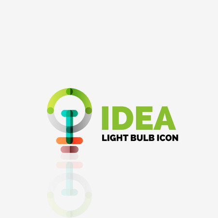 invent: Logo, vector light bulb abstract linear geometric business icon. Fresh modern idea concept