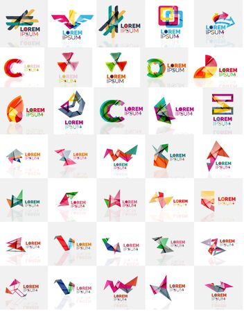 abstract logos: Collection of colorful abstract origami logos. Illustration