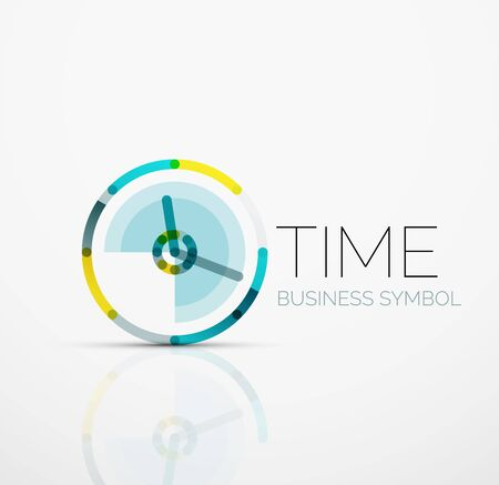 segments: Creative logotype design template made of overlapping multicolored line segments Illustration