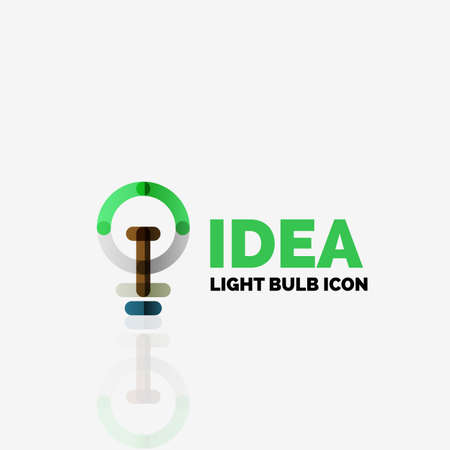 thin bulb: vector light bulb abstract linear geometric business icon. Fresh modern idea concept Illustration