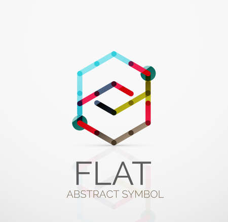minimalistic: Logo - abstract minimalistic linear flat design. Business hi-tech geometric symbol, multicolored connected segments of lines. Vector illustration - connection concept Illustration