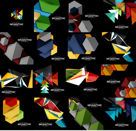art contemporary: Set of geometrical abstract black backgrounds with multicolored shapes. Vector universal presentation template or web banner layout
