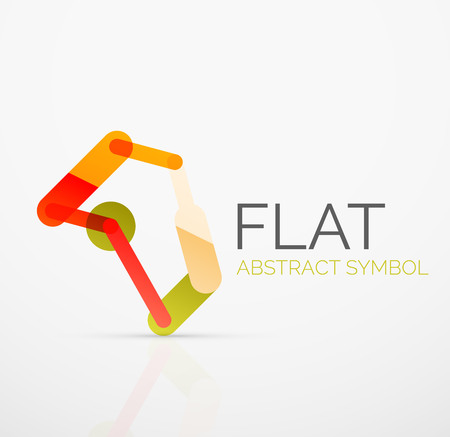 hitech: Logo - abstract minimalistic linear flat design. Business hi-tech geometric symbol, multicolored connected segments of lines. Vector illustration - connection concept Illustration