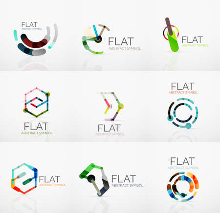 minimalistic: Logo collection - abstract minimalistic linear flat design. Business hi-tech geometric symbols, multicolored connected segments of lines. Vector illustration - connection concepts
