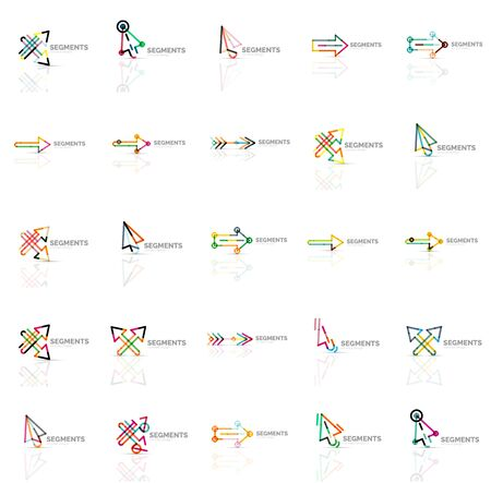 cursors: Set of linear arrow icons, thin line design. Cursors and directional  symbols Illustration