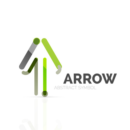 sign up: Linear arrow abstract logo, connected multicolored segments of lines in directional pointer figure. Vector wire business icon isolated on white