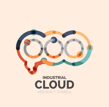 bubble talk: Flat linear design speech cloud logo. Talk bubble, modern geometric industrial thin line icon. Vector Illustration