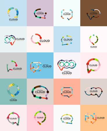 Flat linear design speech cloud logo. Talk bubble, modern geometric industrial thin line icon. Vector