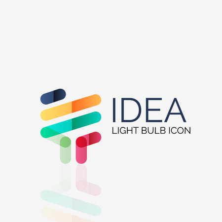 Logo, vector light bulb abstract linear geometric business icon. Fresh modern idea concept