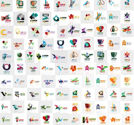 Mega collection of geometrical abstract logo templates, origami paper style business icons with sample text. Vector