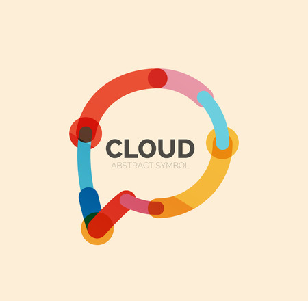 speech cloud: Flat linear design speech cloud   line icon. Vector