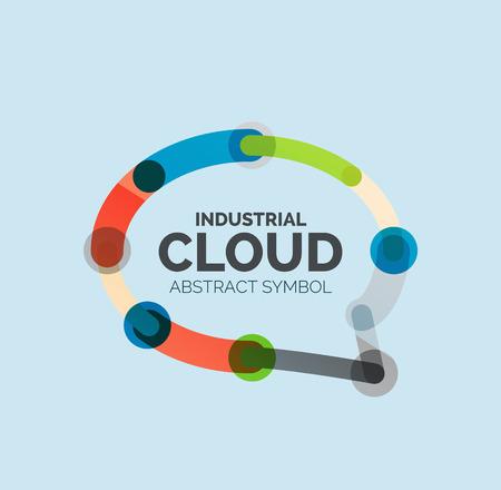bubble talk: Flat linear design speech cloud  . Talk bubble, modern geometric industrial thin line icon. Vector