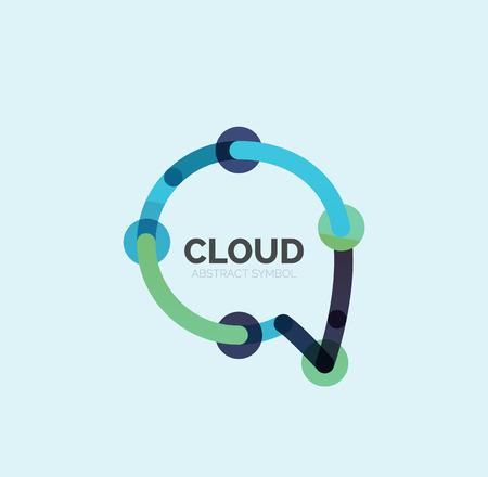 speech cloud: Flat linear design speech cloud logo.