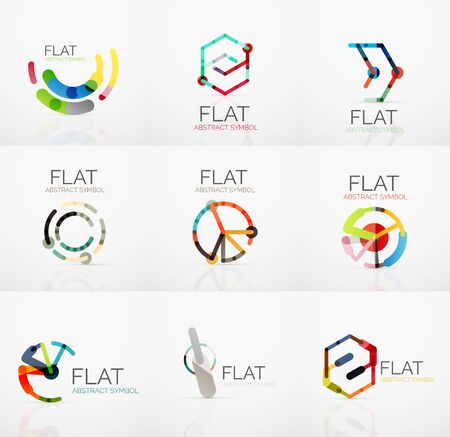hitech: Logo collection - abstract minimalistic linear flat design. Business hi-tech geometric symbols, multicolored connected segments of lines. Illustration