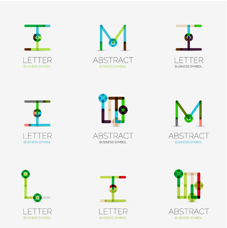 abstract letters: Set of linear abstract geometrical icons and logos - letters, and modern symbols Illustration