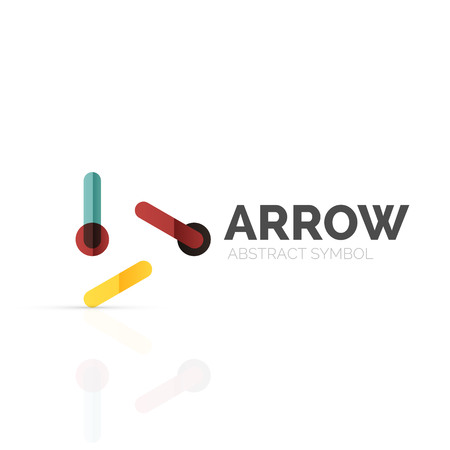 hi back: Linear arrow abstract logo, connected multicolored segments of lines in directional pointer figure. Vector wire business icon isolated on white